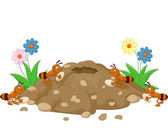 Photo Cartoon Anthill in the forest land