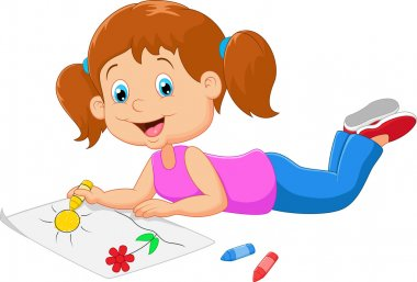Cartoon small beautiful girl paints on paper