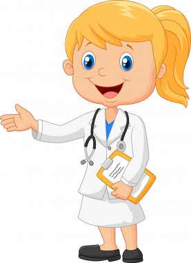 Vector illustration of Cartoon doctor is explaining stock vector