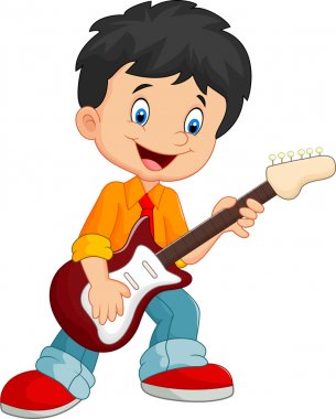 Cartoon singing happily while holding a guitar