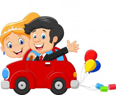 Wedding invitation with funny bride and groom on car driving to their honeymoon