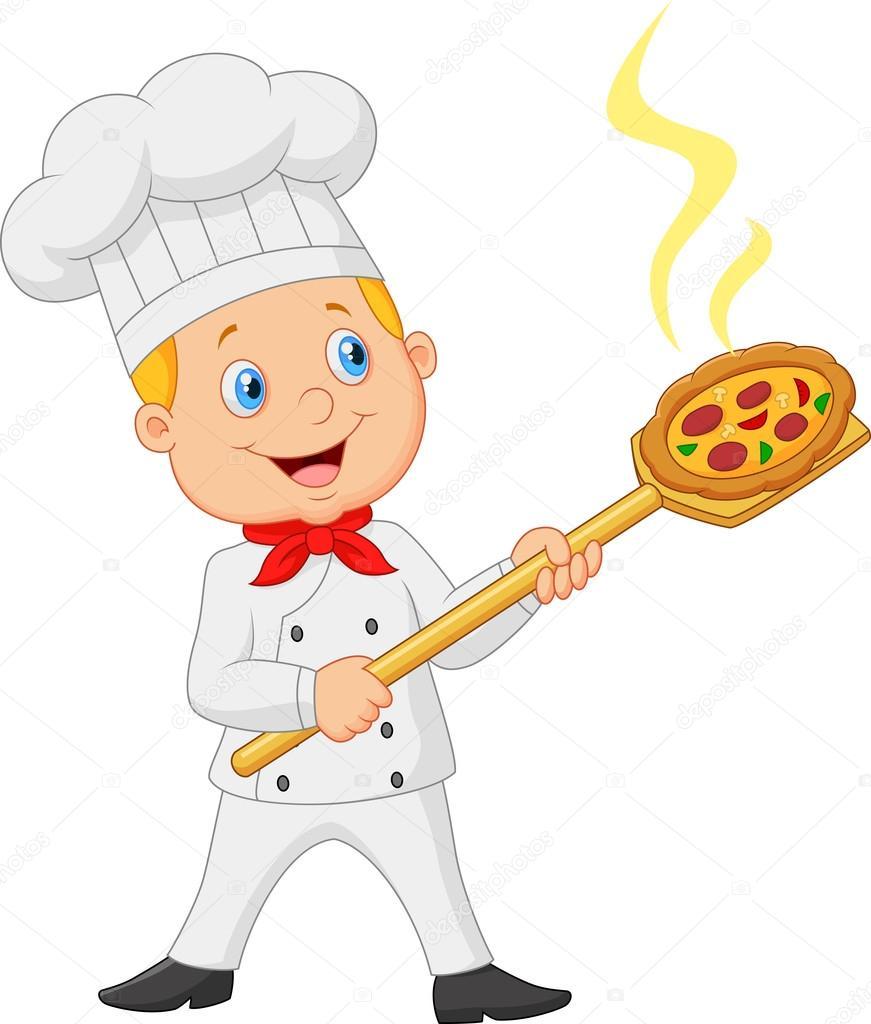 Baker De Dessin Animé Tenant Outil Peel Boulangerie Avec Du Pain