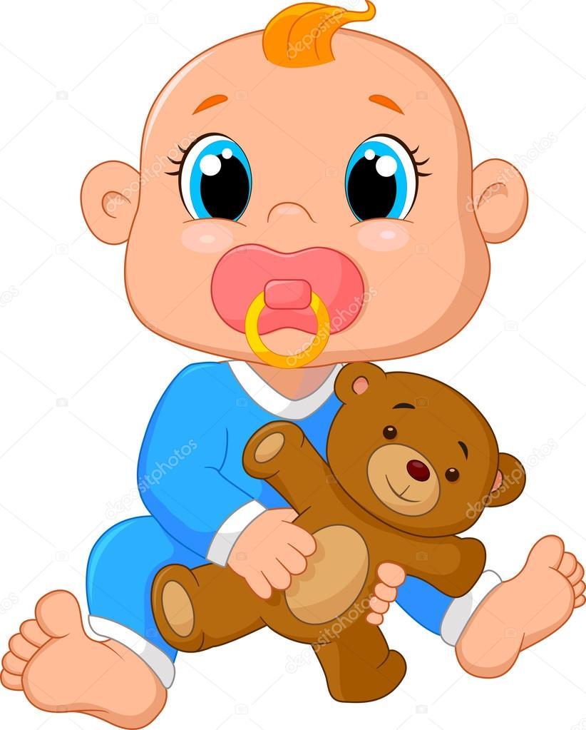 Beb de dibujos animados sosteniendo un oso de peluche - Dibujos pared bebe ...