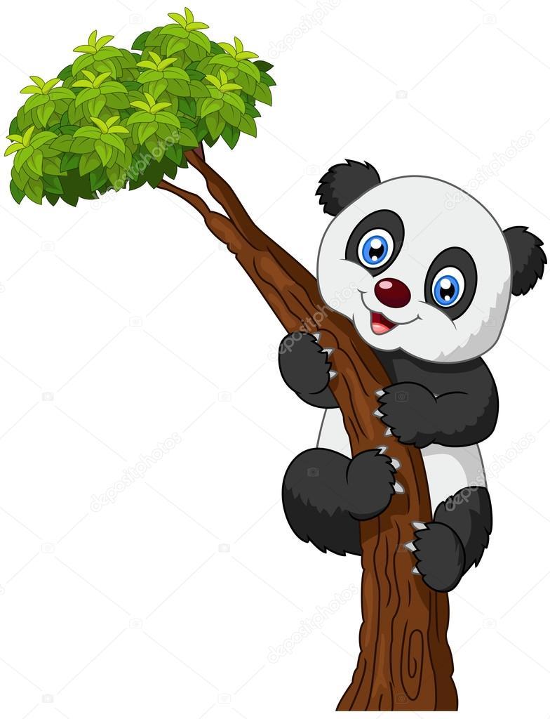 かわいいパンダ漫画用のぼり木 ストックベクター Tigatelu 72456783