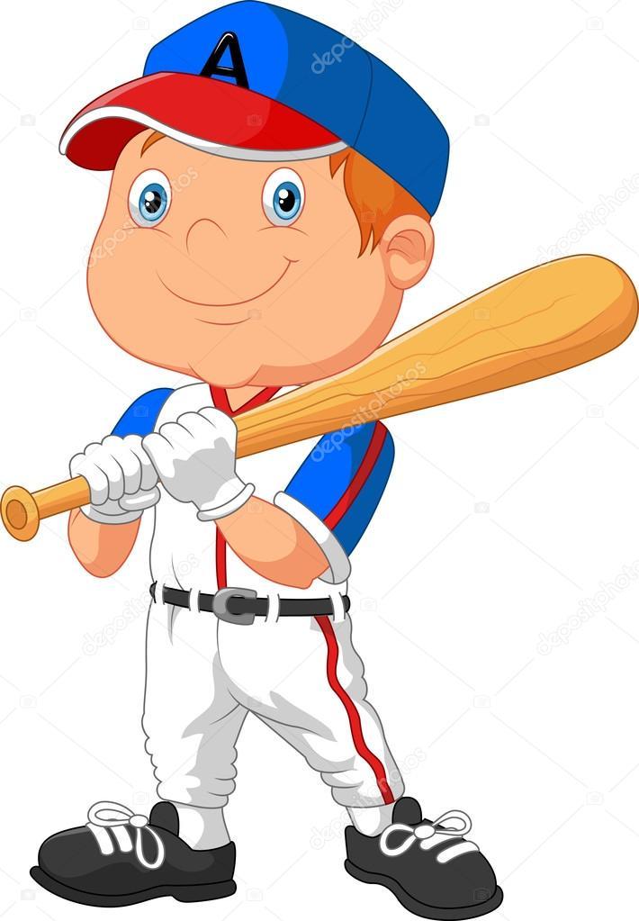 cartoon little boy the playing baseball stock vector tigatelu rh depositphotos com Baseball Diamond Vector Baseball Player Vector