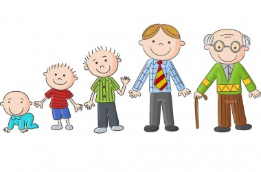 Aging people, Men at different ages. Hand drawn cartoon men