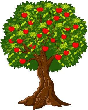 Cartoon Green Apple tree full of red apples