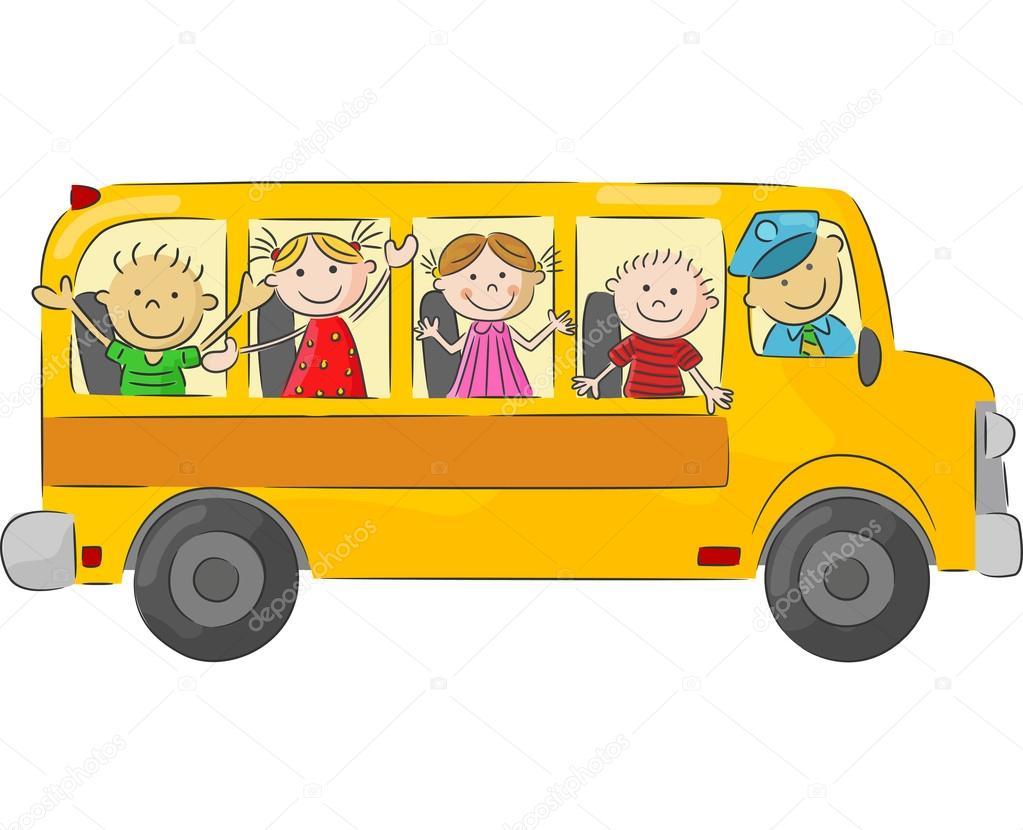 Dessin anim enfants heureux sur les autobus scolaires - Autobus scolaire dessin ...