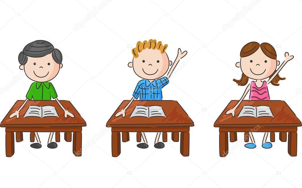 Kreslene Skolni Deti Sedi Na Stole Stock Vektor C Tigatelu 73710173