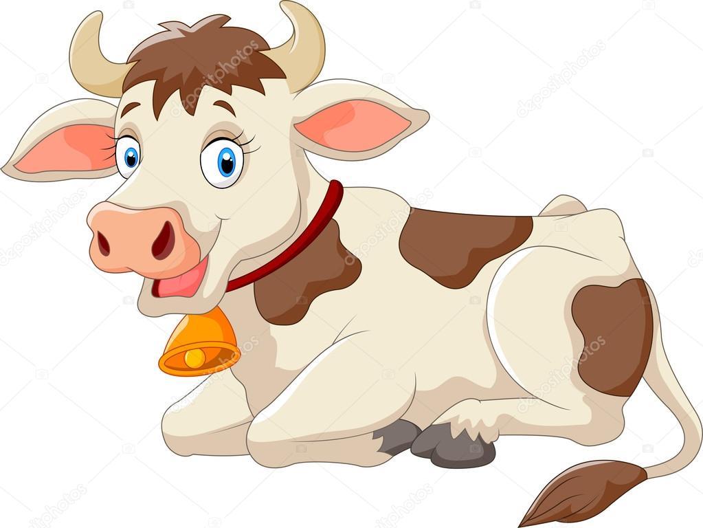 Vaca feliz de dibujos animados — vector stock
