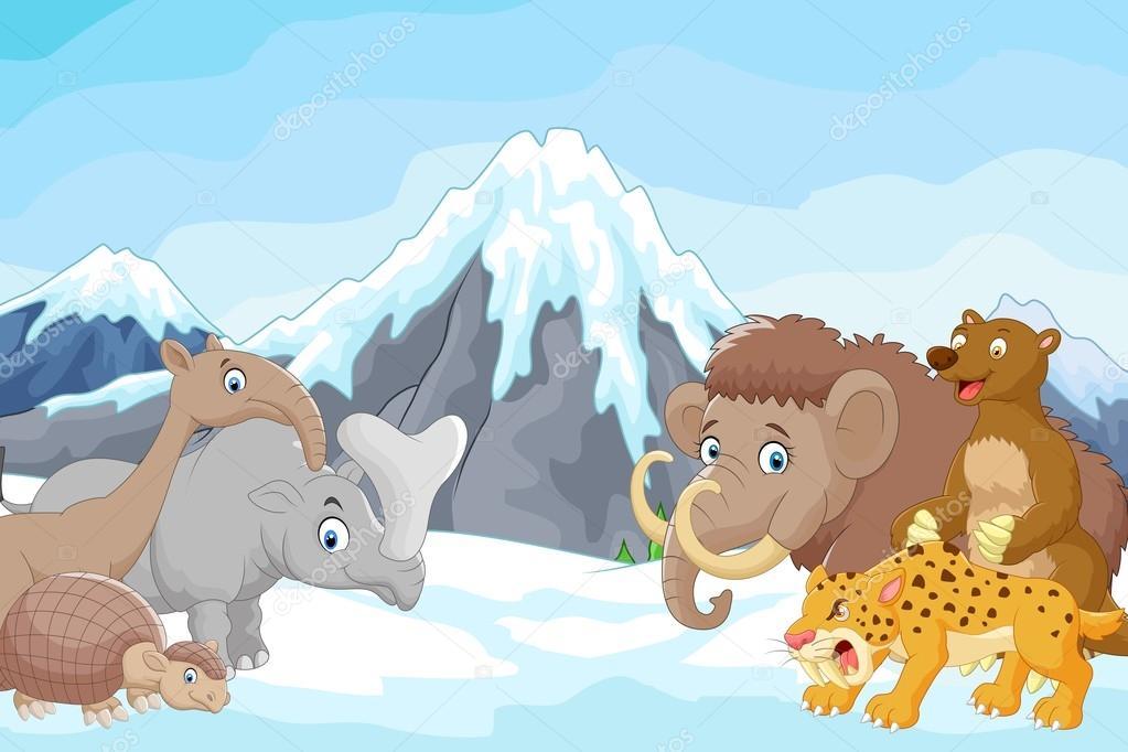 Dağ Arka Plan üzerinde Toplama Buz Devri Hayvanlar Karikatür Stok