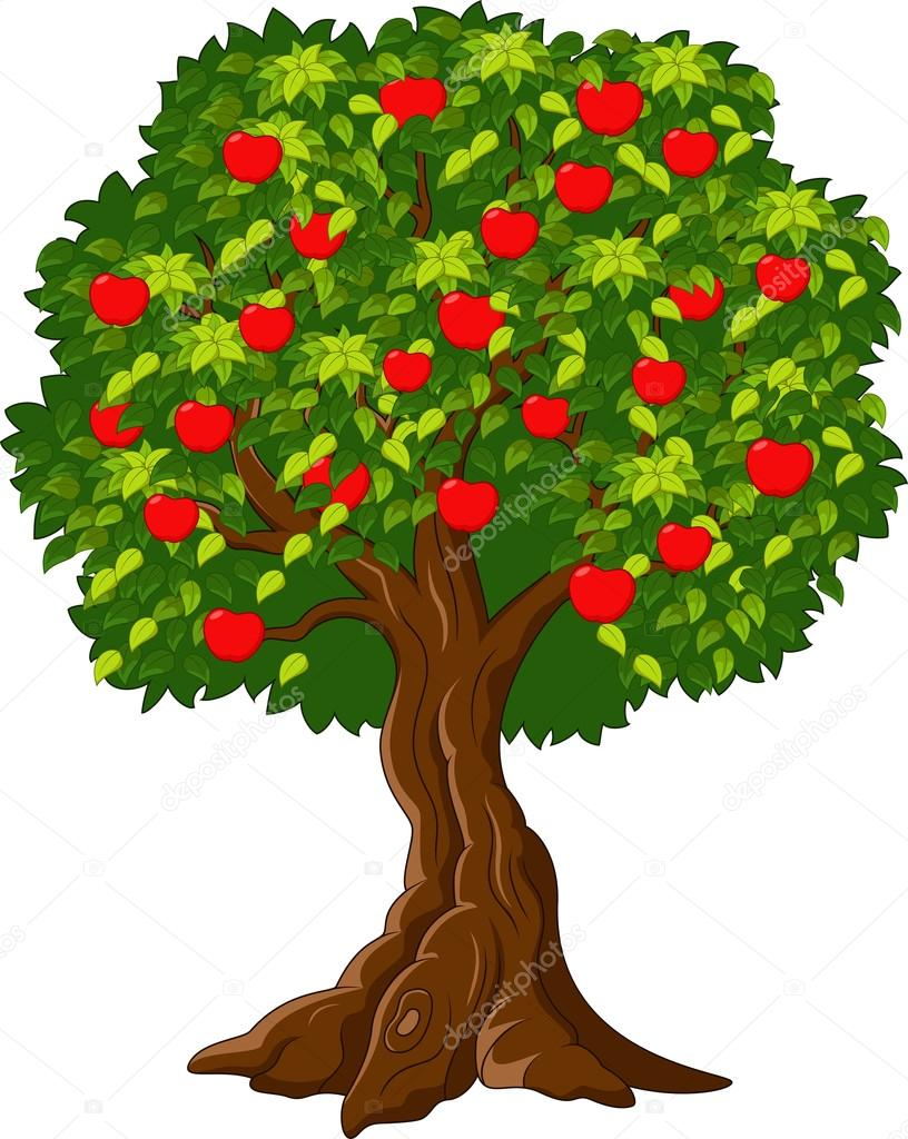 Cartoon Green Apple tree full of red apples