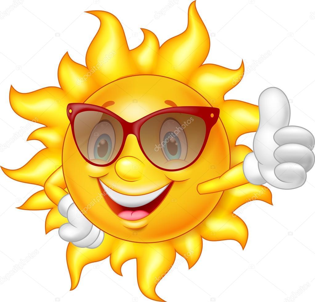 Cartoon sun giving thumb up