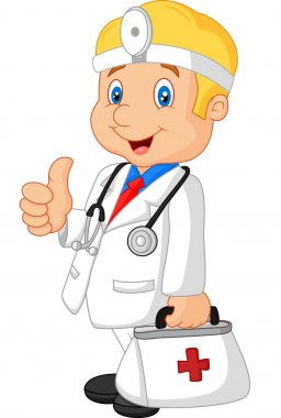Vector illustration of Cartoon doctor smiling and gives thumb up clip art vector