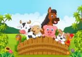 Fotografia Cartoon Collection farm animals in the forest