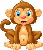 Fotografie Cartoon cute monkey sitting