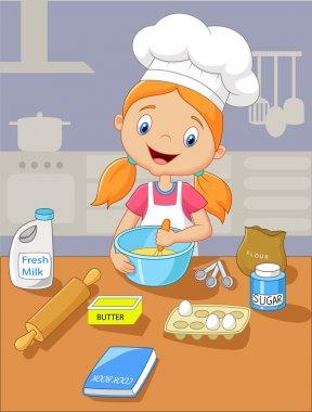 Cartoon little girl baking