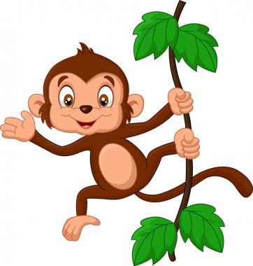 Cartoon baby monkey waving