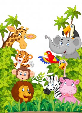 Cartoon collection happy animal in the jungle