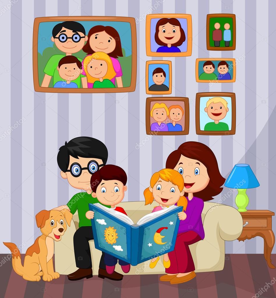 Cartoon Read A Story Book In The Living Room U2014 Vetores De Stock #75191143 Part 77