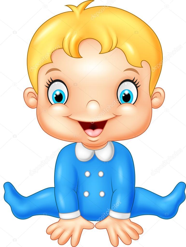 Dessin Bébé Garçon dessin animé heureux bébé garçon — image vectorielle tigatelu