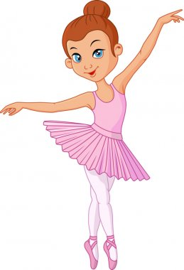 Cartoon Young girl ballet dancer