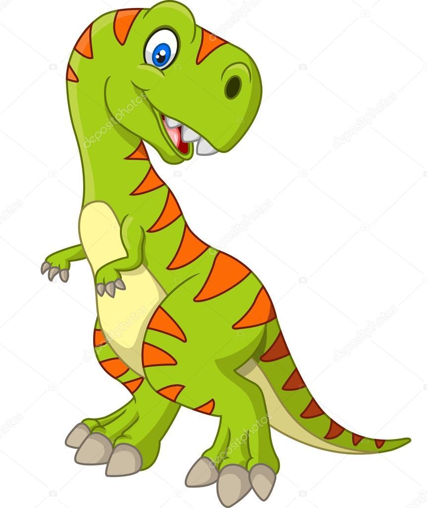Animado Dinosaurio Dibujo Dinosaurio Feliz De Dibujos Animados