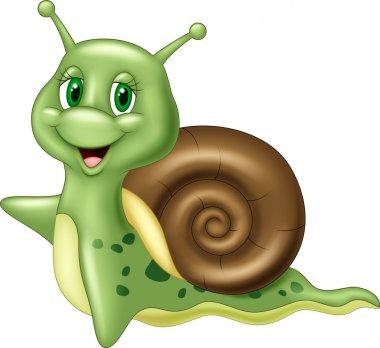 Cute cartoon snail waving