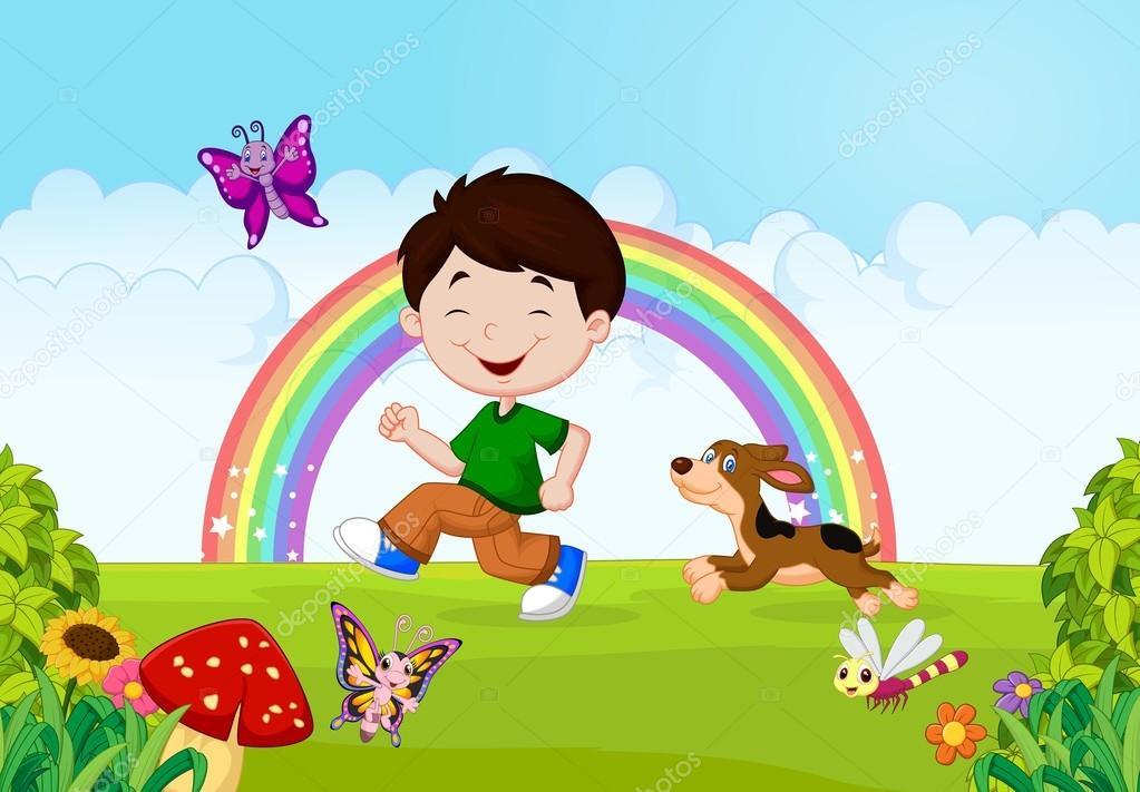 Animado: Dibujo De Niño Corriendo En El Parque