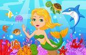 Roztomilá mořská víla karikaturu s sada kolekce ryb