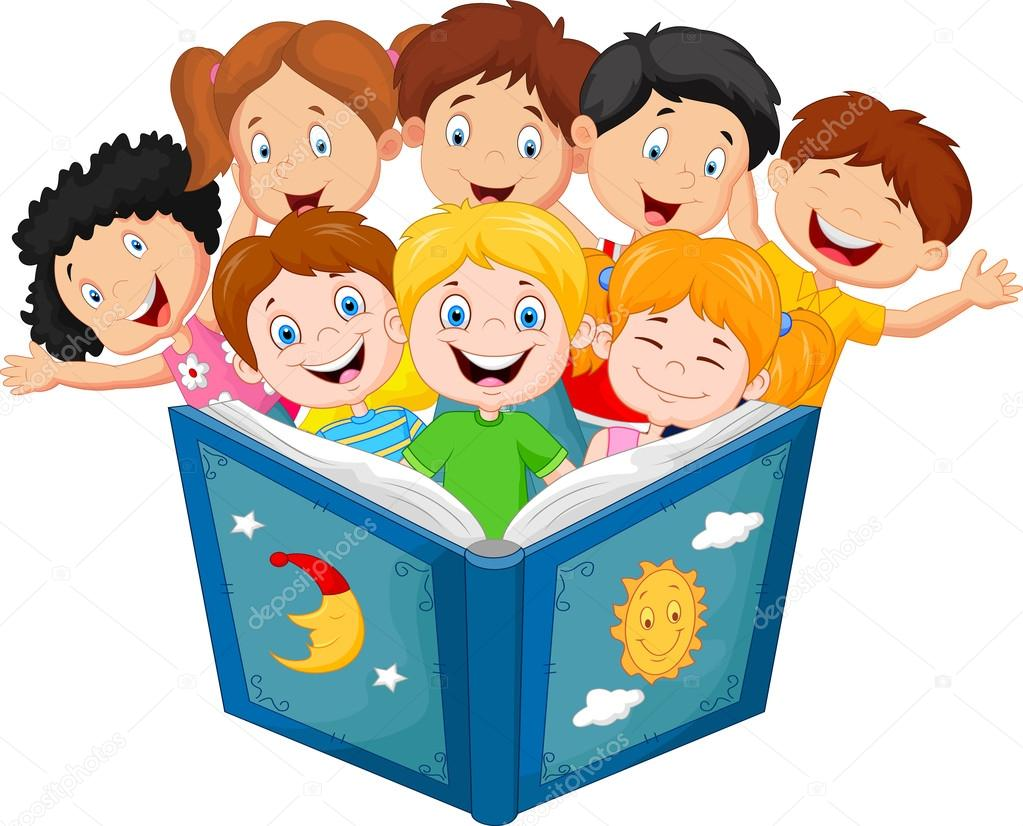Dibujos Animados De Animales Estudiando: Cartoon Little Kid Reading Book