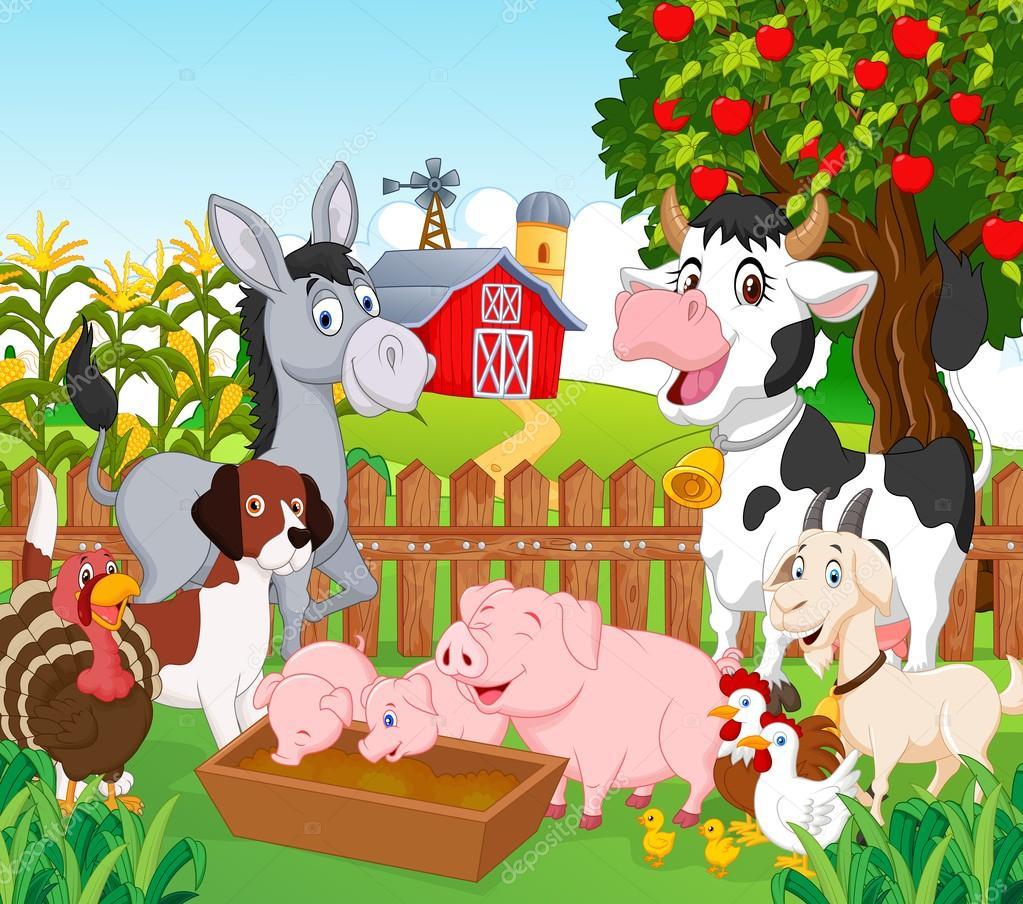Dibujos granja dibujo dibujos animados animal de colecci n en la granja vector de stock - Casa rural la granja ...