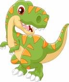 Fényképek Cartoon dinosaur tyrannosaurus look to the side