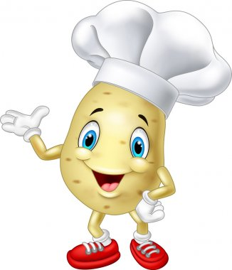 Cartoon chef potato waving hand