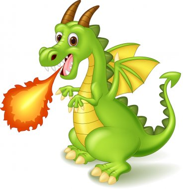 Cartoon dragon posing with fire