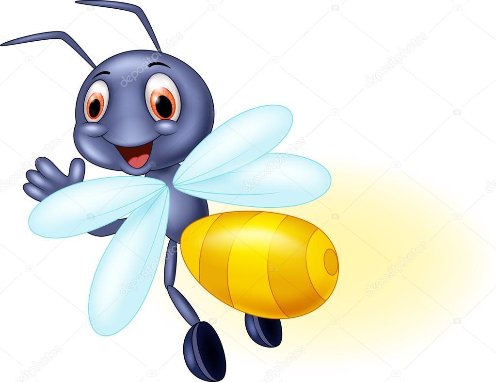 Cute firefly cartoon waving — Stock Vector © tigatelu ...