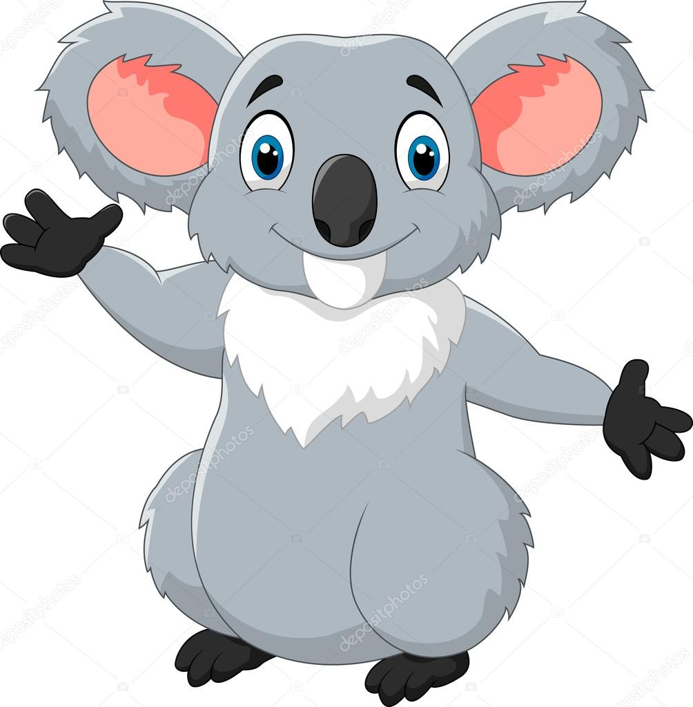 happy cartoon koala waving hand u2014 stock vector tigatelu 82289732