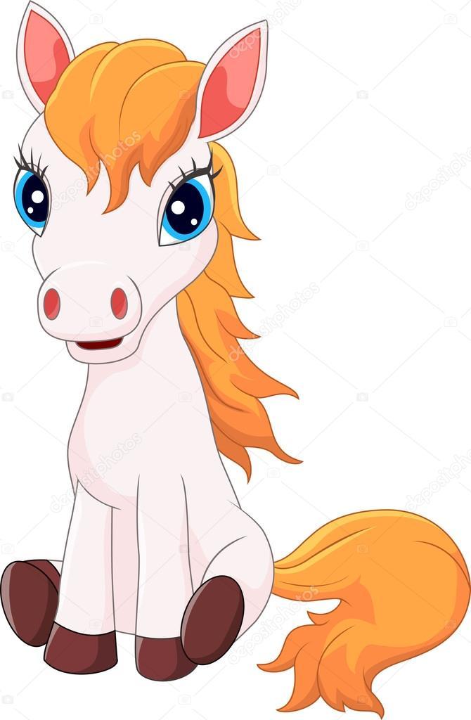Cartoon Cute Pony Horse Sitting Stock Vector C Tigatelu 82289802