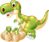 Happy mother dinosaur with baby dinosaur hatching