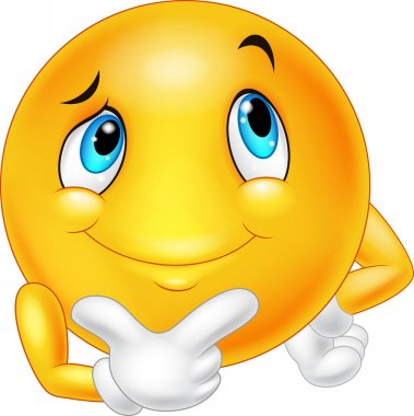 Happy cartoon emoticon thinking