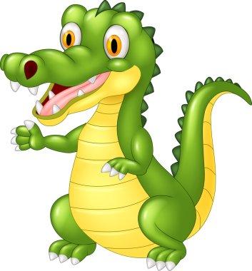 Happy cartoon crocodile waving hand