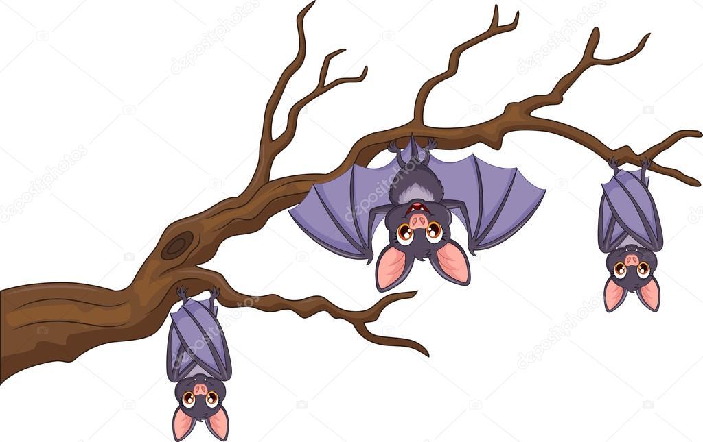 morcego de desenho animado feliz pendurado na árvore vetores de