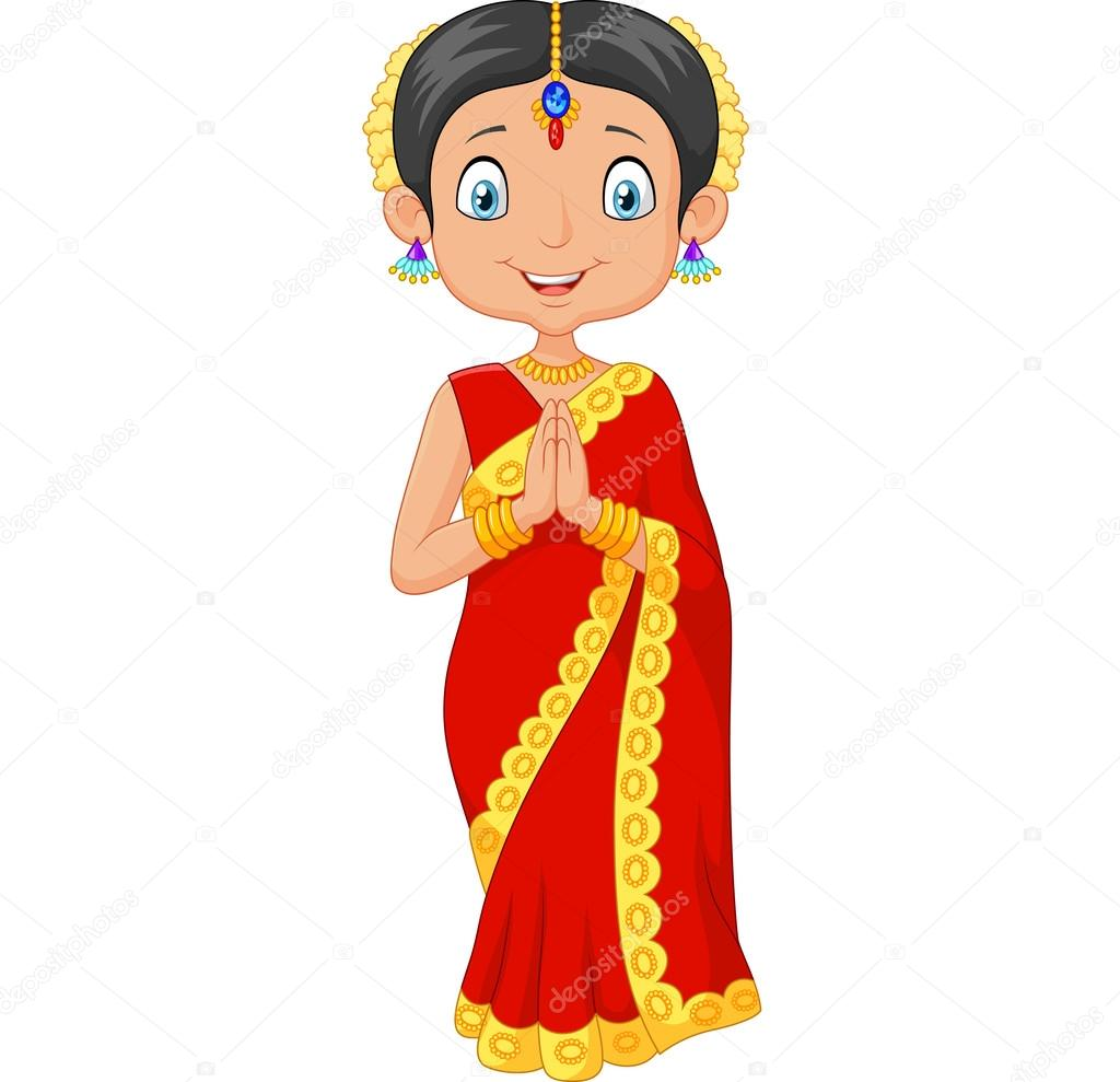 Cartoon indian girl wearing traditional dress stock for Traditional photos