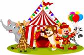 Fotografie Cartoon happy animal circus and clown