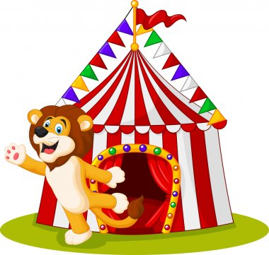 Cute lion waving hand in the front of circus tent