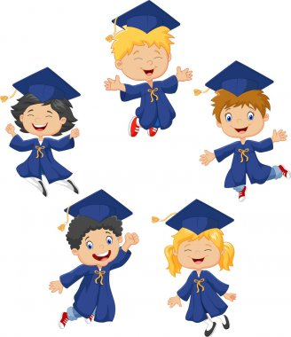 Cartoon little kids celebrate their graduation isolated on white background