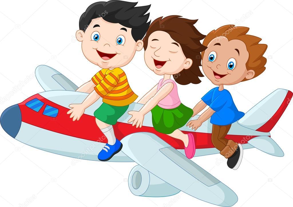desenhos animados crianças montando avião isolado no fundo branco