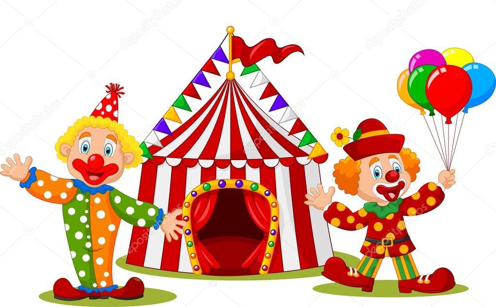 Palha o feliz dos desenhos animados em frente a tenda de for Immagini di clown da colorare