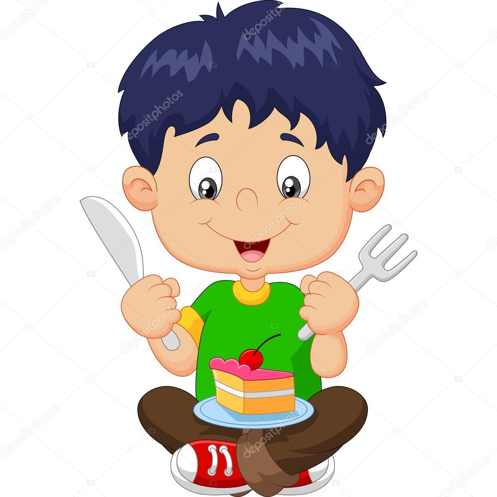 Animado Niña Comiendo Pastel Niño De Dibujos Animados Comiendo
