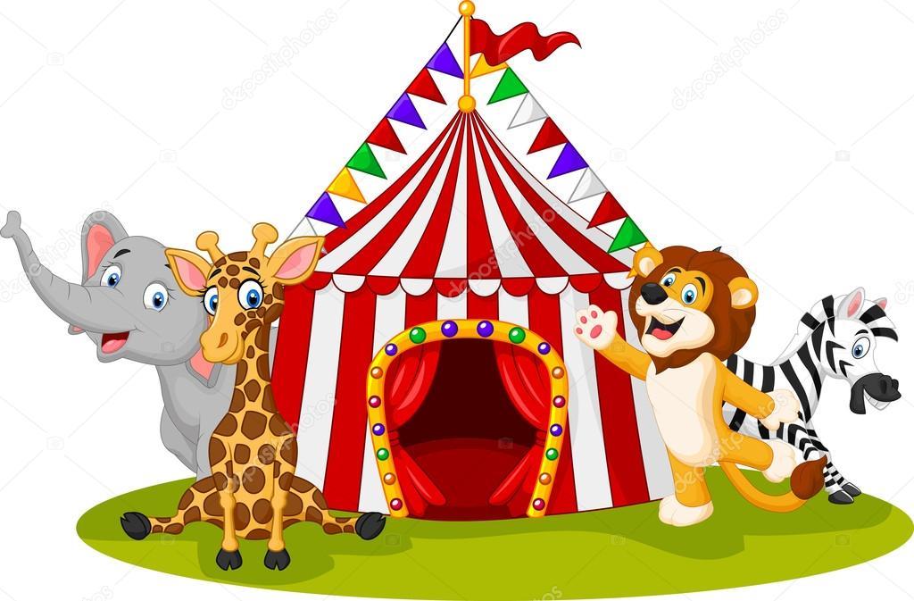 Cartoon animal circus with circus tent u2014 Stock Vector  sc 1 st  Depositphotos & Cartoon animal circus with circus tent u2014 Stock Vector © tigatelu ...